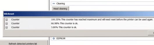 Một trong các bộ đếm mực thải của Epson T23 bị tràn